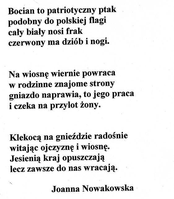 Wiersze O Bocianach Ułożone Przez Uczestników Projektu Boci